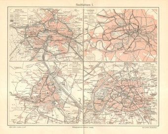 1905 Original Antique Map of City Rails, Tram and Light Rail Routes in London, Paris, Berlin and Vienna