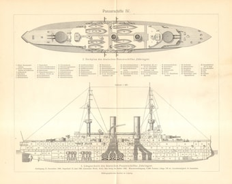 1905 General Arrangement Drawing of the SMS Zähringen Battleship of the of the German Imperial Navy