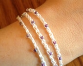 Beaded Crochet Wrap Bracelet - White cotton and Iridescent Beads