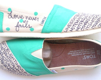 The Darla - Teal and Cream Polka Dot Custom TOMS