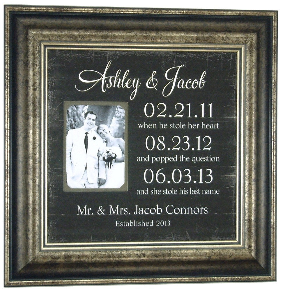 Wedding Reception Gift: Personalized Picture Frame Special Dates Sign Custom