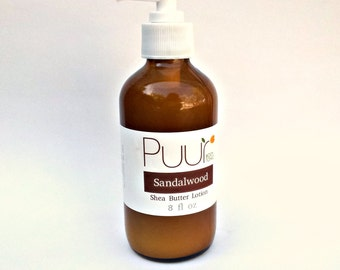 VEGAN Body Lotion - Sandalwood Shea Butter Lotion - 8oz Amber Glass Bottle with Pump Paraben Free