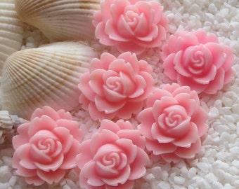 Resin Flower Cabochon - 18mm  x 16mm - 6pcs - Pink