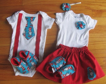 Private Listing, Twin First Birthday Dr. Suess Matching Onesie Outfits / Shoes