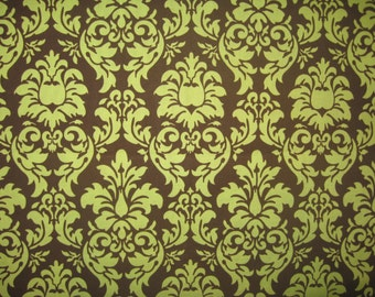 "Michael Miller Dandy Damask green brown 27"" X 42"""