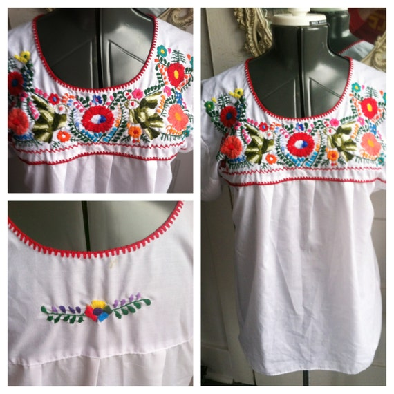 Mexican Embroidered Flower Shirt Women's M/L by mwvintage ...