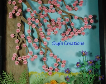 Shadow box, weeping cherry tree with spring flowers