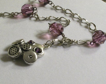 Gas Mask necklace in Purple