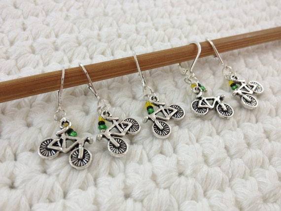 Removable Stitch Markers Bicycles - 5 Tour de Fleece  / France Stitch Markers for Crochet and Knitting