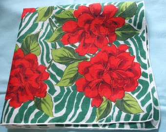 Roses Zebra Printed Handkerchief Red Green Lime Bold Graphic
