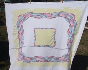 Tablecloth Pink Gray Aqua Yellow Vintage Kitchen Tablecloth