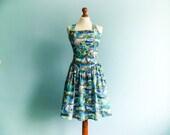 Vintage bombshell halter dress / pin up dress / fit and flare / blue / op art / pop art / exotic print / summer dress / knee length / medium