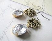 Lotus Flower Dangle Earrings Swarovoski Rhinestone Earrings Vintage Estate Style Earrings Weddings Bridesmaids