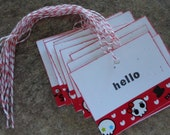 10 HELLO Handmade deco tape TAGS with bakers twine. Skeleton. Pirate. Eye Patch. Party Tag. Treat Bag Tag