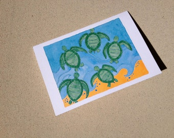 "Sea Turtle Notecards - Swim Frenzy - Set of Eight (3 1/2"" X 5"")"