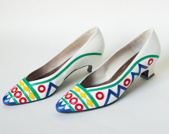 Vintage 1980's Shoes - Whirlygig - Awesome Novelty Leather Multi-Colored Kitten Heels