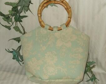 Vintage handbag purse bamboo handles aqua and white floral purse Natural bamboo purse handles hobo bag shopping bag boho beach diaper bag