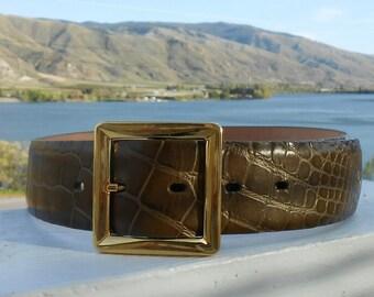 Vintage Ellen Tracy leather belt alligator look leather belt Italian brass buckle rodeo belt rodeo queen western belt