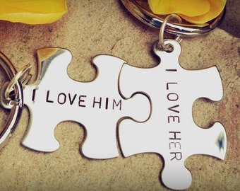 Boyfriend Gift,personalized gift,custom key chains, His and Hers, I lover her, I love him,  personalized key chains, puzzle key