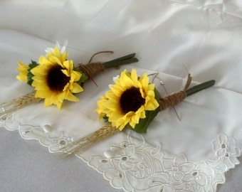 Yellow boutonnieres Set of 3 Sunflower groom mens buttonholes silk Wedding flowers fall Bridal party accessories groomsmen autumn
