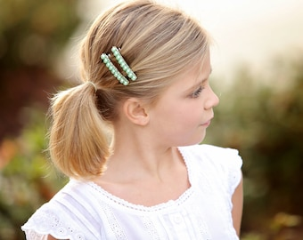 French Barrettes - Seafoam - Set of 2 - mint green glass pearls french barrettes for girls, teens, and women by reynared