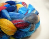 "Hand Dyed Merino Wool Sparkle Roving Top for Spinning - ""The Dark World"" May Phat Fiber"