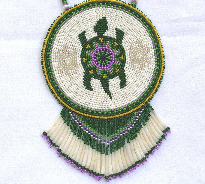 Choctaw Beads: Turtle Spirit Large Beaded Medallion Necklace