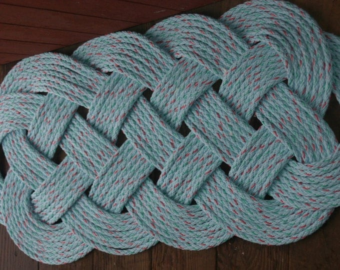 "Outdoor Rope Rug 35"" X 15""  Doormat  Blue with Specks of Green and Red Splash of Color Nautical Beach Decor"