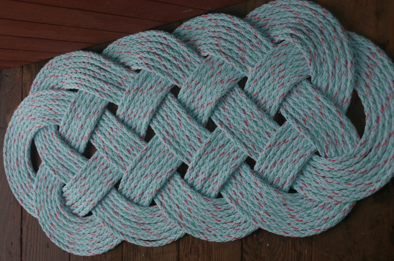 Outdoor rope rug 35 x 15 doormat blue with for Rope carpet