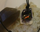 Reduced Price Bright Red, Green and Gold Ammolite from Utah Deposit Fishing Fly Art on Tiffany Stone, Cord Necklace 288