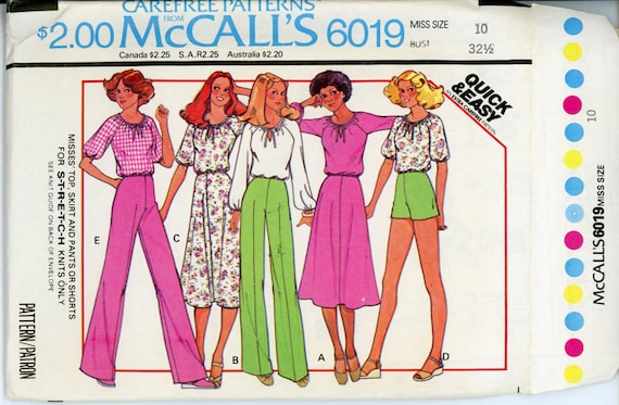 1970s Top Shorts Pants and Skirt Pattern McCalls 6019 Bust 32 Womens Vintage Sewing Pattern Quick & Easy Separates UNCUT