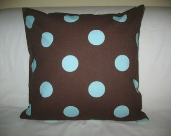 Home Decor-Pillow cover- Designer 18x18 Pillow  Cover Premier Prints Oxygen Dots Brown/French Blue Fabric