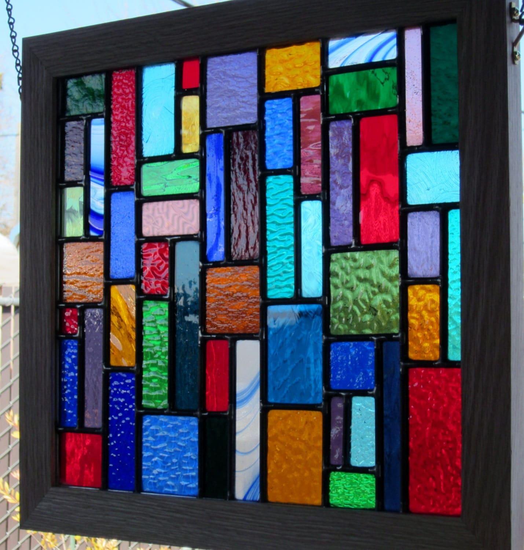 Oak Framed Multi Color Stained Glass Window
