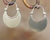 Larger Crescent Moon Earrings -Hoop Earrings - Sterling silver