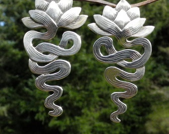Lotus Earrings with Ear Post - sterling silver