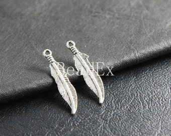 40pcs / Feather / Oxidized Silver Tone / Base Metal  28x6mm  (XA2515//B106)