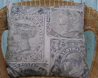 SALE - postage stamp pillow cover- stamp cushion cover- throw pillow cover- decor pillow cover - accent pillow cover