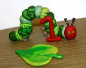 The Very Hungry Caterpillar with 1and Large Green Leaf - Clay Birthday Cake Topper