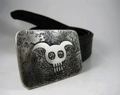 Pure Evil Belt Buckle - Etched Stainless Steel - Handmade