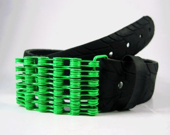 Recycled Bike Chain Belt Buckle- Curved- Neon Green Finish