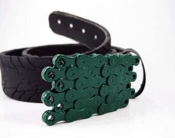 Recycled Bike Chain Belt Buckle- Flat- Green Finish