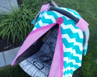 Carseat Canopy Teal Chevron Houndstooth