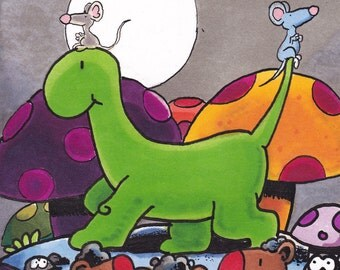 The Perfect Gift for Children. Original Illustration Featuring a Happy Dinosaur.