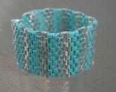 Peyote Bracelet Turquoise & Silver Handmade Jewelry Beadwork Jewelry Beaded Bracelet Beadweaving