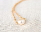 Single White Button Pearl Gold Filled Necklace