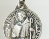 """Saint Bernard Vintage Religious Medal on 18"""" sterling silver rolo chain"""