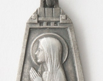 """Mary of Lourdes Vintage Art Deco Religious Medal on 18"""" sterling silver rolo chain"""