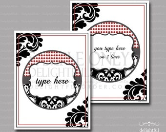 Editable and Printable - Red Dot Black Damask 8.5x11 Page - (2Pages) PDF Printable Files - Instant Digital Download