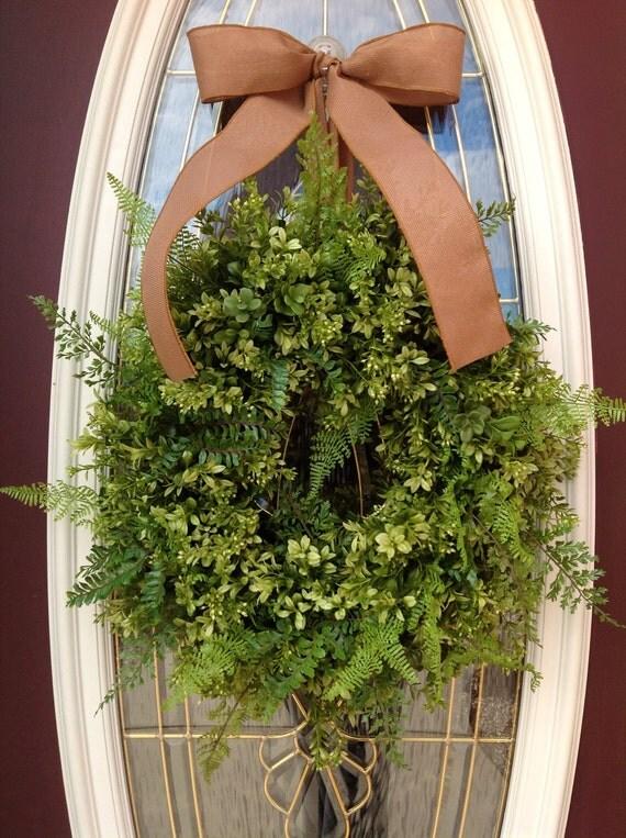 Spring Wreath Summer Wreath Grapevine Boxwood Fern and Burlap Door Wreath Decor