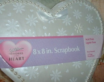 "Scrapbook Wilton Heart Shaped 8"" x 8"" Photo Album, Prom, Wedding, Shower, Anniversary, Christening, Naming"